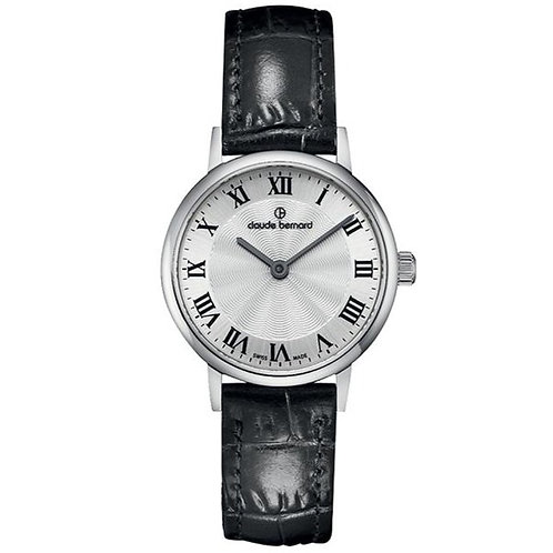 Claude Bernard Classic Two Hands Silver|Silver|Black CB20215-3-AR front view