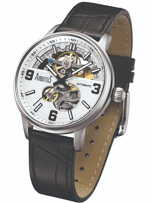 ARBUTUS Open Heart AR1809SWB, Front View, Silver Dial with Black Indices, Black Leather Strap