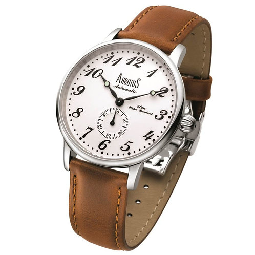 ARBUTUS Vintage Ceramic AR903SWF, White Ceramic with Printed Index, Small second Dial, Stainless Steel, Brown Leather Strap
