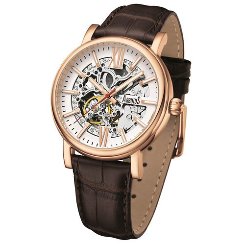 ARBUTUS Classic Skeleton AR911RWF, White Dial with Applied Index, Brown Leather Strap, Stainless Steel, 40Hr Power Reserve