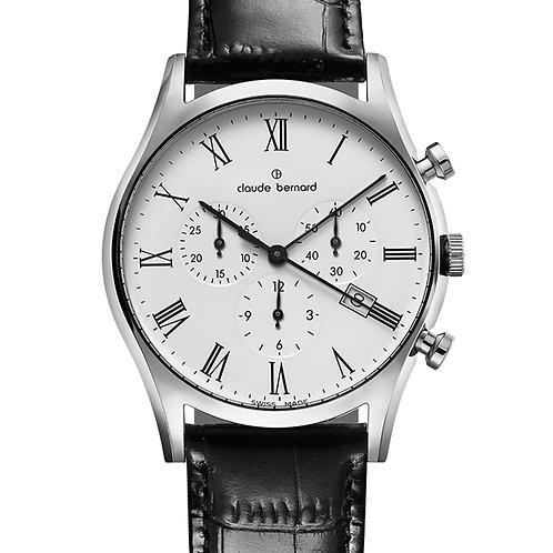Claude Bernard Classic Date Small Second White|Silver|Black CB10218-3-BR front view