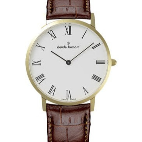 CLAUDE BERNARD CLASSIC white|gold|brown CB20202-37J-BR front view