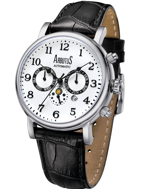 ARBUTUS Multifunction Modern Classic AR1711SWB, White Dial with Indices, Black Leather Strap, Day/Date/Month/Sun&Moon Phase