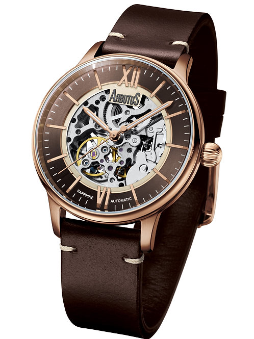 ARBUTUS  Skeleton Automatic AR1808RFF, Front View, Stainless Steel Rosegold, Brown Leather Strap and Brown Dial with Indices