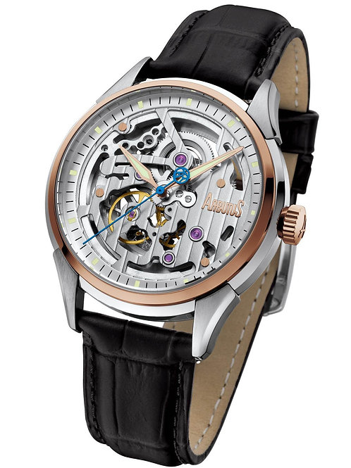 ARBUTUS Skeleton Automatic AR1801TRWB, Front View, Stainless Steel with IP Rosegold Plating, White Dial, Black Leather Strap