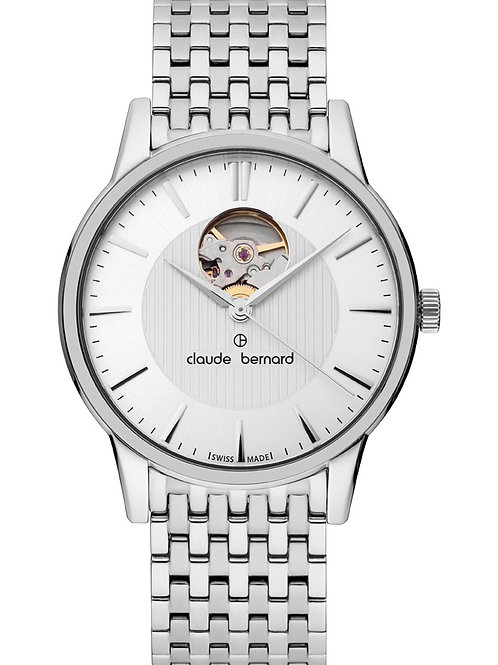 Claude Bernard Classic Automatic Open Heart Black|Silver|silver CB85017-3M-AIN front view