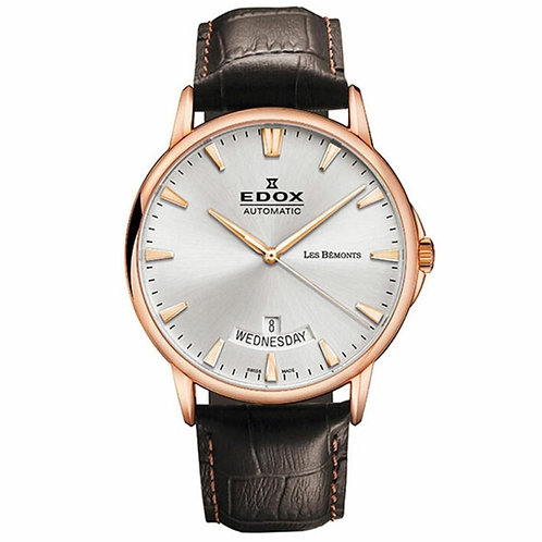 Edox les Bemont Automatic Day and Date ed83015-37R-BIR front view