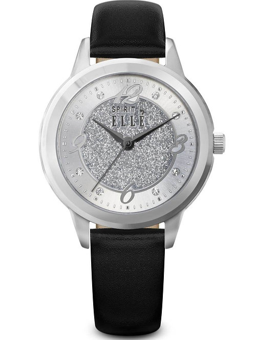 ELLE Steel case, Sunray Silver + Silver Glitter Sand dial, Black strap ES20046S0 front view