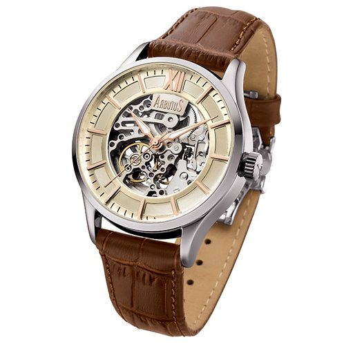 ARBUTUS Rotary Skeleton AR901SIF, Ivory Dial with Skeleton Look Dial, Brown Leather Strap, Stainless Steel, 44mm, 40hrs Power