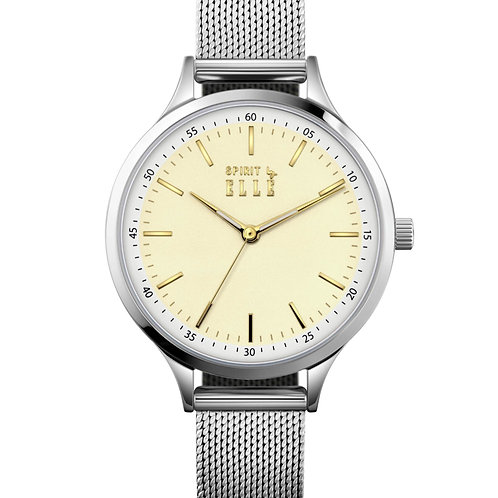 ELLE yellow dial with gold index and stainless steel mesh band ES20132B02X front view