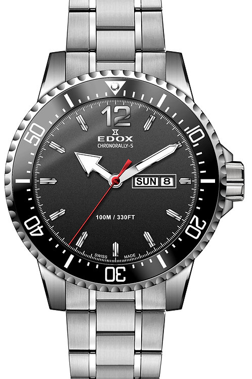 Edox Chronorally S Day and Date ed84300-3M-NBN front view