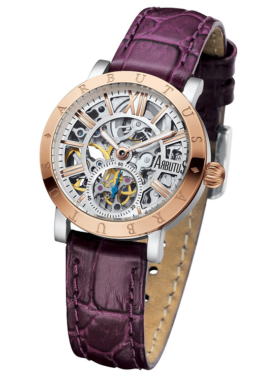 ARBUTUS Ladies Skeleton AR1720TRWV, Front View, Stainless Steel with IP Rosegold, Rosegold Dial, Purple Leather Strap