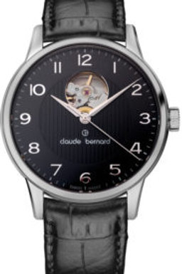 Claude Bernard Classic Automatic Open Heart Black|Silver|Black CB85017-3-NBN front view