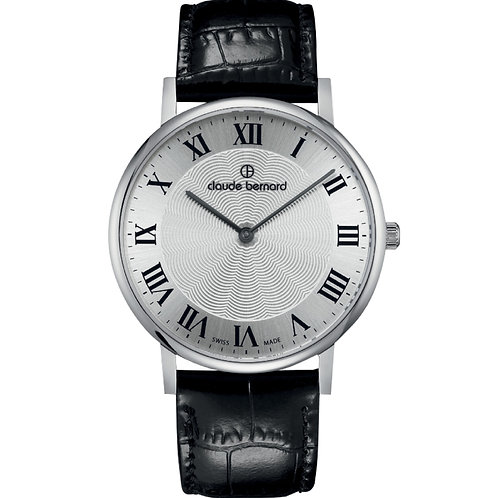 Claude Bernard Classic Two Hands Silver|Silver|Black CB20214-3-AR front view