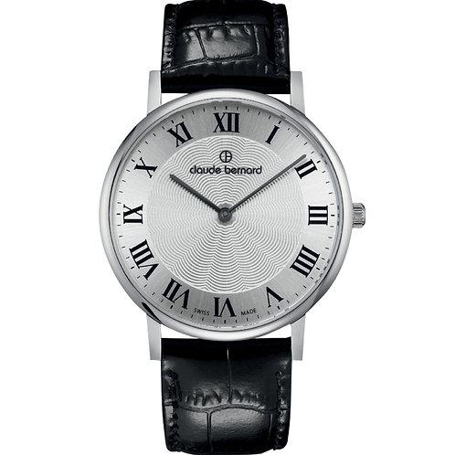 Claude Bernard Classic Two Hands Silver|Silver|Black CB20214-3-AR