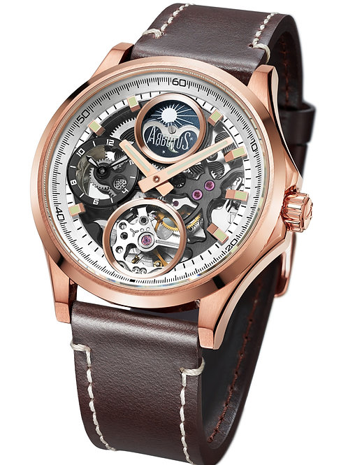 ARBUTUS Dual Time AR1901RWF, Front View,Stainless Steel Case IP Platted Rosegold, Brown Leather Strap, Sapphire Lens