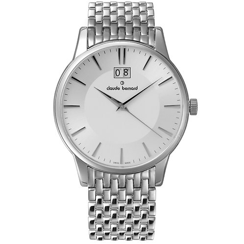 Claude Bernard Classic Big Date Silver|Silver|Silver CB63003-3M-AIN
