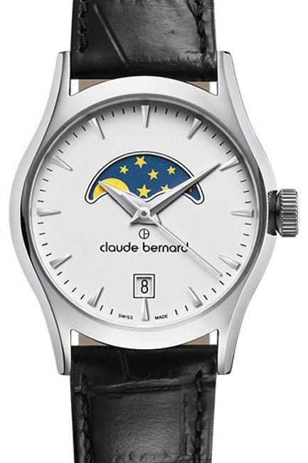 Claude Bernard Classic Moonphase White|Silver|Black CB39010-3-BIN front view