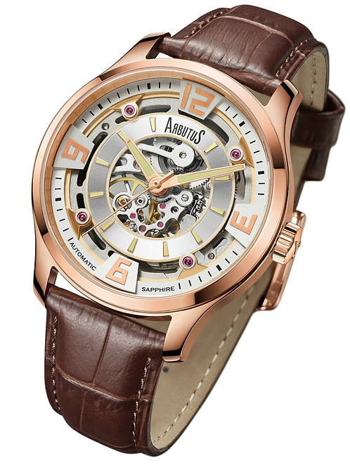 ARBUTUS Skeleton Automatic AR1902RWF, Front View, Silver White Dial with Rosegold Applied Index, Brown Calf Leather Strap