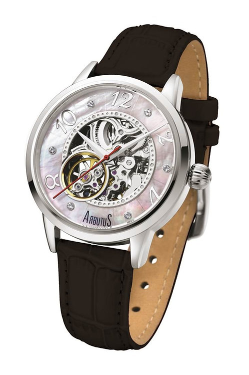 ARBUTUS Classic Ladies Skeleton AR908SMB, Mother-Of-Pearl Dial, Stainless Steel, Black Leather Strap