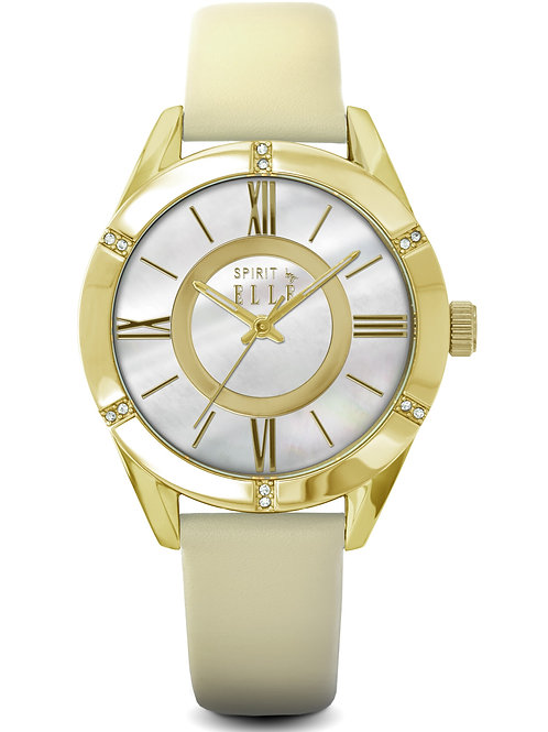 Elle gold steel case mop dial and beige leather ES20039S03X front view