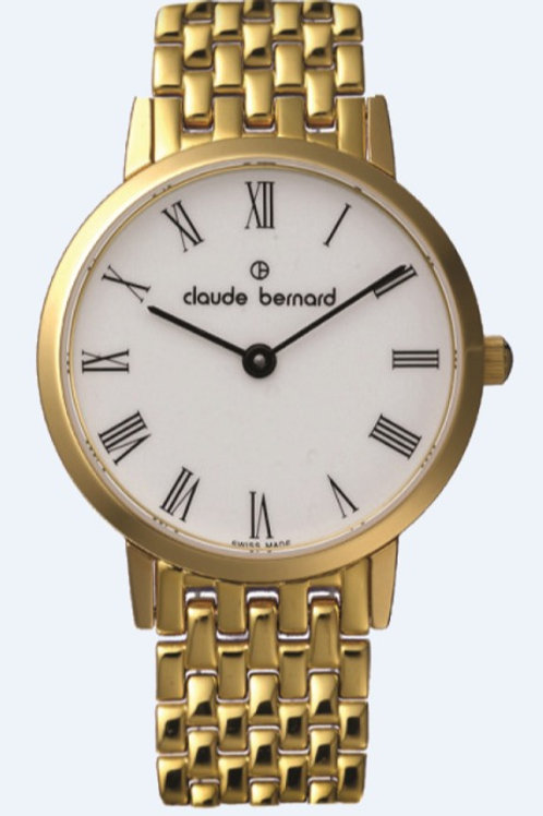 Claude Bernard Classic White|Gold|Gold/Silver CB20059-37JM-BR front view