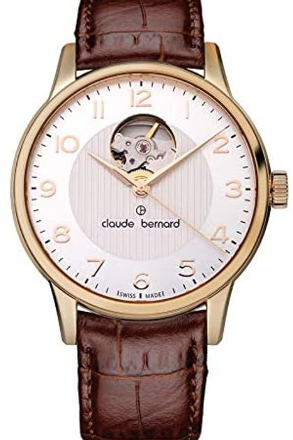 Claude Bernard Classic Automatic Open Heart Silver|Yellow|Brown CB85017-37R-ABR front view