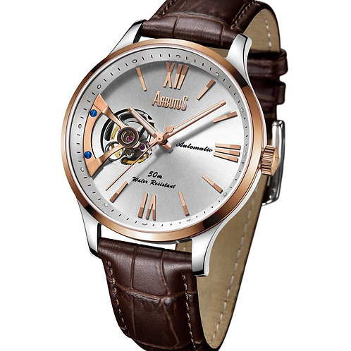 ARBUTUS Open Heart AR1807TRWF, Front View, White Dial with Indices, Stainless Steel IP Rosegold, Brown Leather Strap