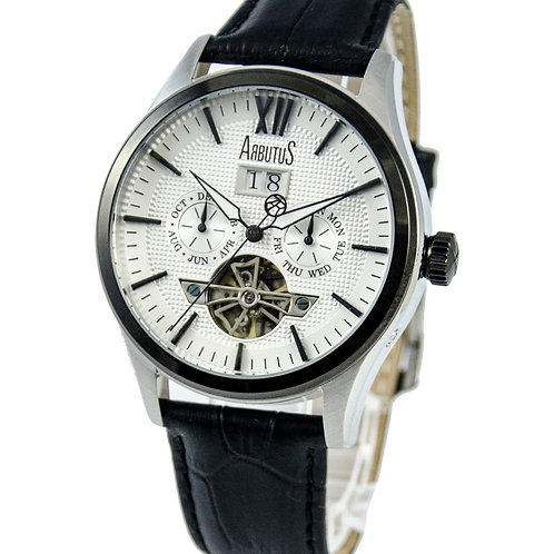 ARBUTUS Open Heart AR1614TBWB, Front View, White Dial, Black Bezel and Leather Strap, Date/Day/Month