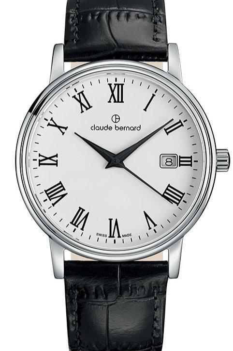 Claude Bernard Classic Gents/Ladies White|Silver|Black CB53007-3-BR