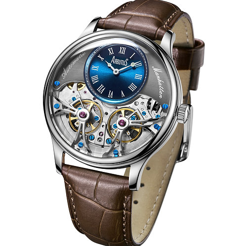 ARBUTUS Double Balance Wheel AR1903SUF, Front View, Grey Dial with Blue Mini Dial, Brown Leather Strap