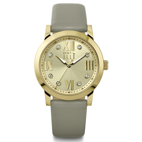 Elle gold dial with stones and gold case and grey leather ES20083S02