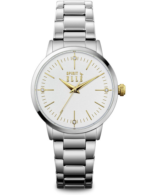 Elle Steel case, White Sandblast with Stone dial and bracelet ES20147B04X front view