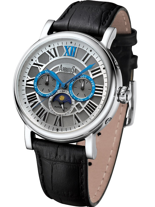 ARBUTUS Classic Multi-Function AR912SWB, Gray Dial w Indices, Stainless Steel, Black Leather Strap, Month/Day/Moon Indicator