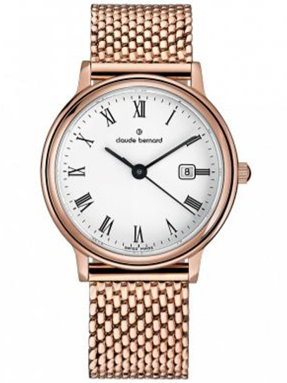 Claude Bernard Classic Gents/Ladies White|Pink|Pink CB54005-37RM-BR front view