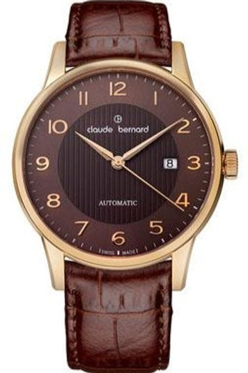 Claude Bernard Classic Automatic BROWN|ROSE GOLD|BROWN CB80091-3M-NI front view