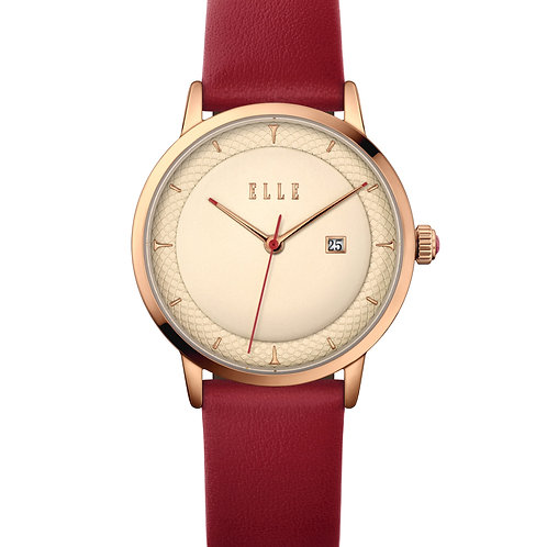 Elle Steel case, Embossed rose gold dial and red leather EL20458S03N front view