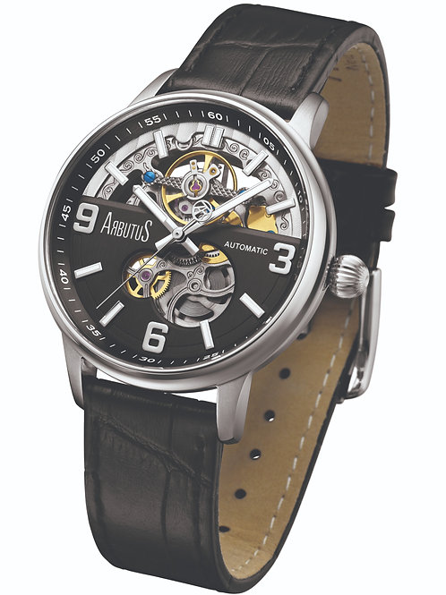 ARBUTUS Open Heart AR1809SBB, Front View, Black Dial with White Indices, Black Leather Strap, Stainless Steel