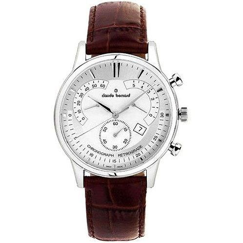 Claude Bernard Classic Chronograph Retrogade Silver Silver Brown  CB01506-3-AIN