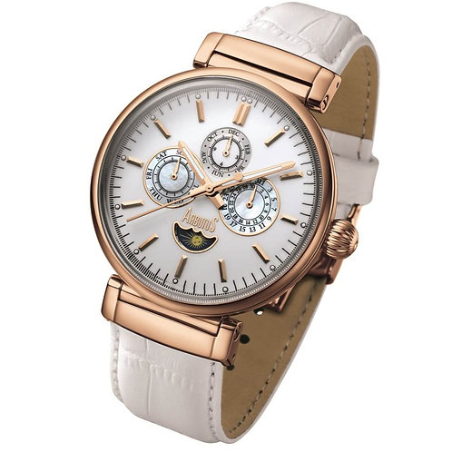 ARBUTUS Moonphase Multi-Function AR810RWW, White Ceramic w Applied Index, Stainless Steel in IP Rosegold, White leather Strap