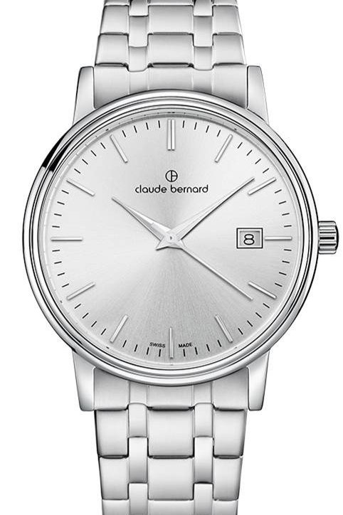 Claude Bernard Classic Gents/Ladies Silver|Silver|Silver CB53007-3M-AIN front view