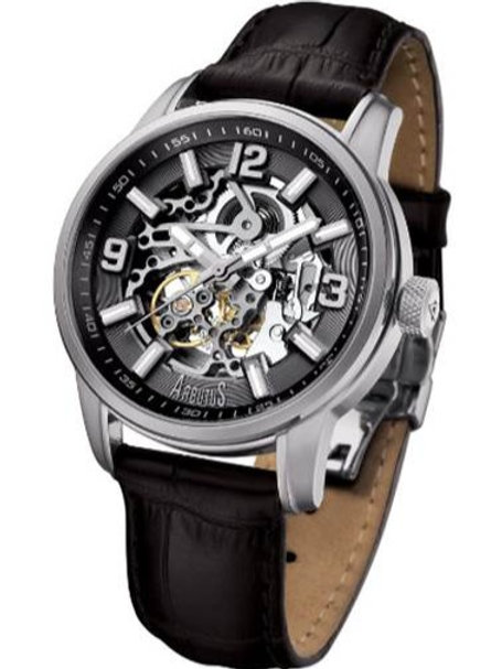 ARBUTUS  Classic Skeleton AR904SBB, Black Dial with Skeleton Look Dial, Black Leather Strap, Stainless Steel, 45mm