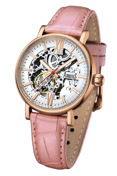 ARBUTUS Ladies Skeleton AR910RWP, White Dial w Index, Pink Leather Strap, Stainless Steel in Rosegold PT, 40Hr Power Reserve