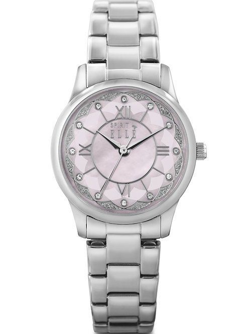 Elle steel case, with pink mother of pearl dial and bracelet ES20069B01X front view