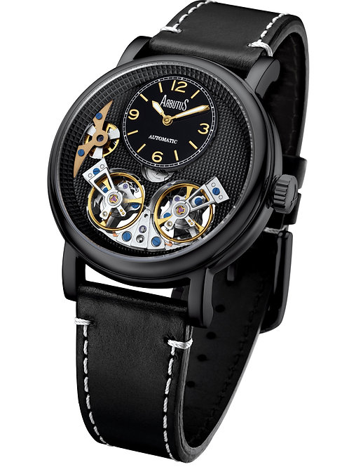 ARBUTUS Double Balance Wheel AR1804BBB, Front View, Black Dial w Sub Dial, Stainless Steel Black Plating, Black Leather Strap