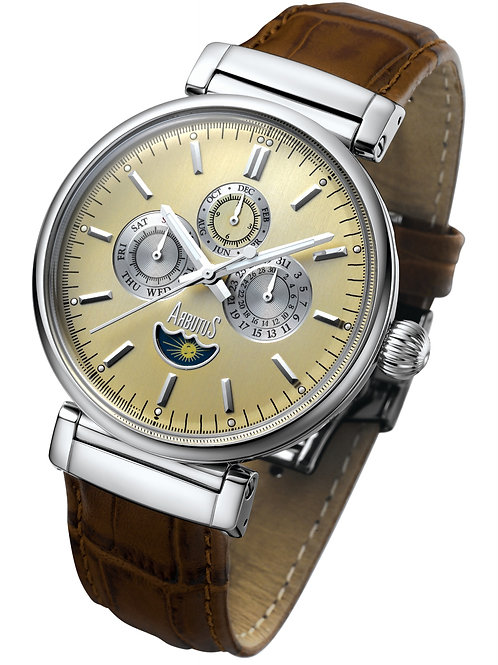 ARBUTUS Moonphase Multi-Function AR810SIF, White Ceramic Dial with Applied Index, Stainless Steel, Brown Leather Strap