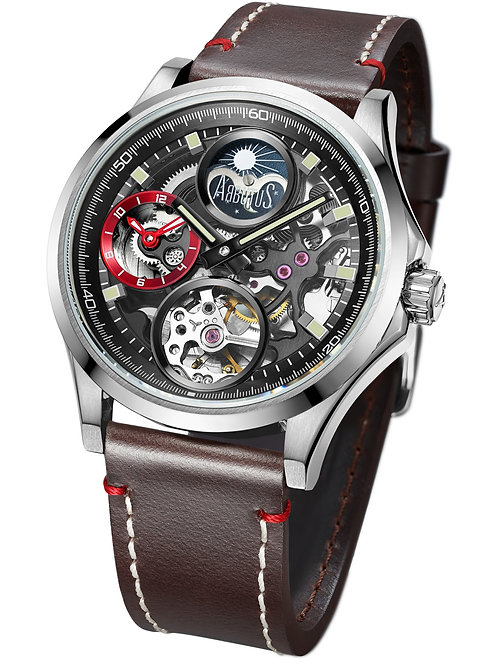 ARBUTUS Dual Time AR1901SNF, Front View, Black Dial, Brown Leather Strap, Moon Phase/Dual Time, Sapphire Lens