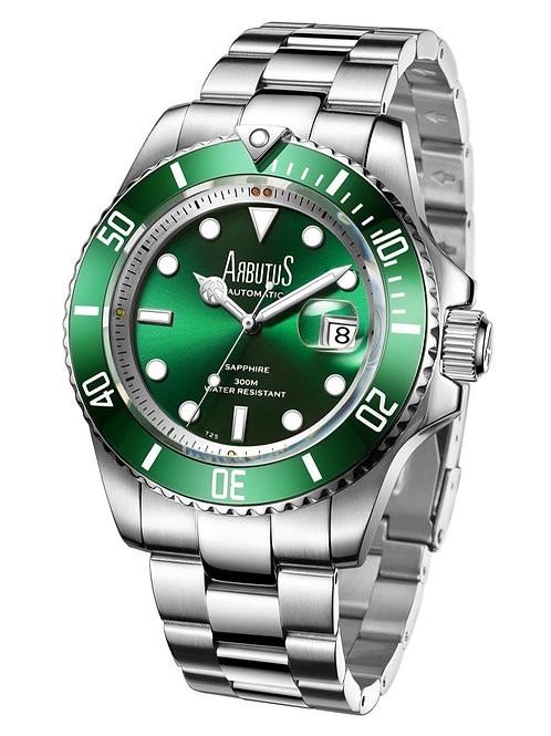 ARBUTUS Dive Automatic AR1907SGS, Front View, Blue Sunray Dial with Gas-Tube Indices, Stunning Green Rotating Bezel
