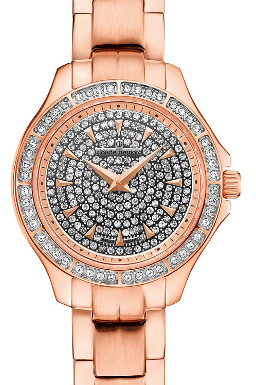 Claude Bernard Dress Code Lady Slim Line Silver|Pink|Pink CB20205-37R-PR front view
