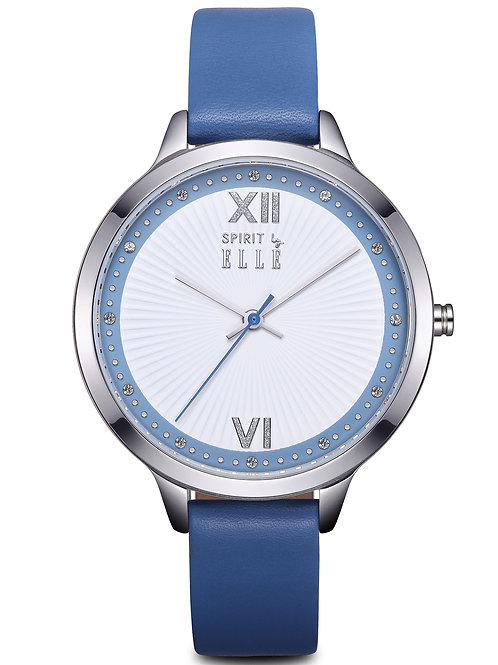 Elle sunray white dial steel case and blue strap ES21008S02X front view